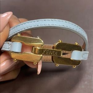 Fendi gold and baby blue leather bracelet